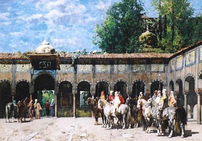 Cavalieri Circassi Che Aspettano Il Loro Capo resim