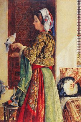 Girl With Two Caged Doves resim