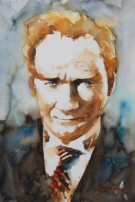 Sulu Boya Atatürk Portre resim