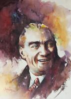 Sulu Boya Atatürk Portresi 02 - ATA-156