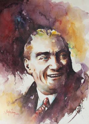Sulu Boya Atatürk Portresi 02 resim