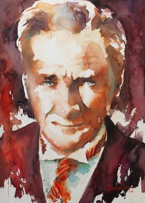 Sulu Boya Atatürk Portresi 03 resim