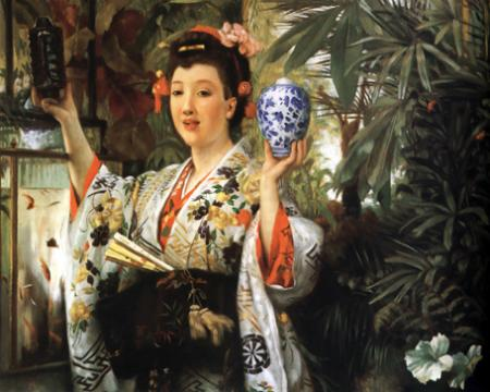 Young Lady Holding Japanese Objects resim