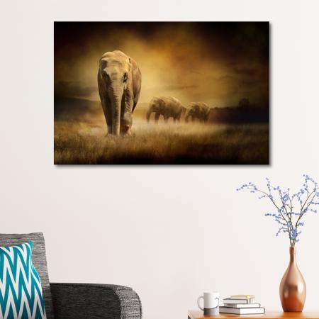Elephants at Sunset resim2