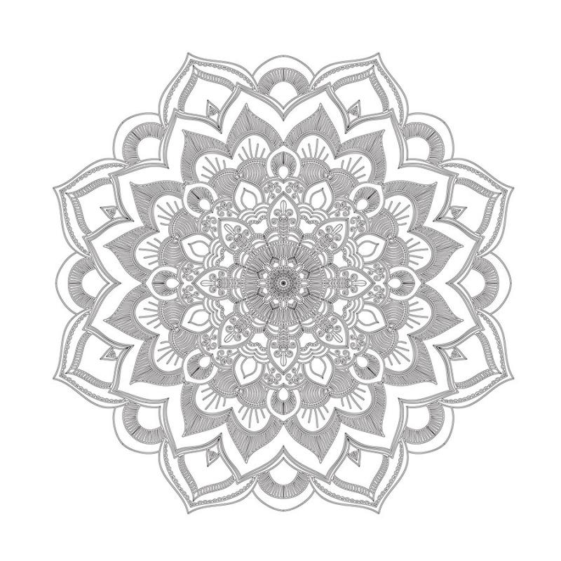 Cicek Desenli Mandala Tablosu Mandala Boyama Tablosu