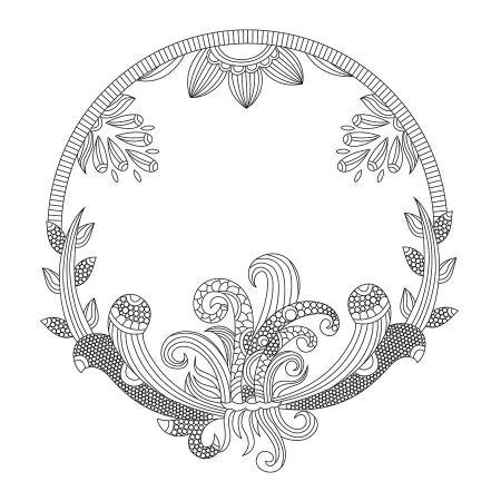 Dairesel Çiçek Desenli Mandala Tablosu resim
