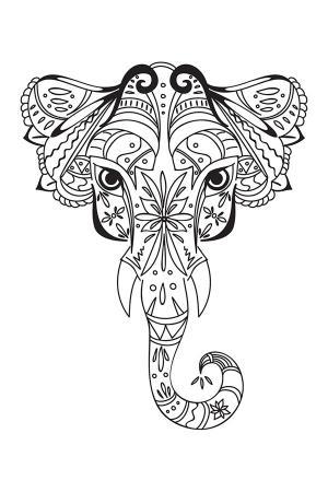 Fil Desenli Mandala Tablosu resim