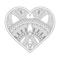 Kalp Desenli Mandala Tablosu - CM-010
