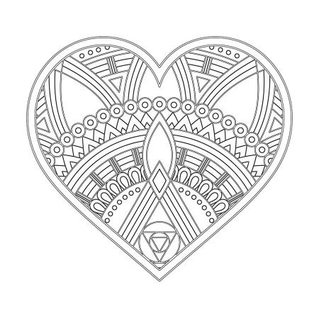 Kalp Desenli Mandala Tablosu 0