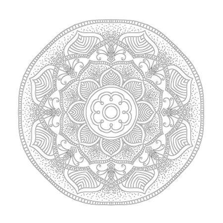Radyal ve Floral Desenli Mandala Tablosu resim