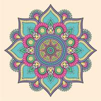 Renkli Çiçek Desenli Mandala Tablosu - CM-012
