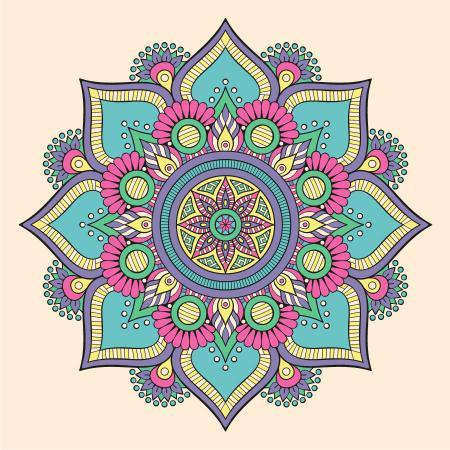 Renkli Çiçek Desenli Mandala Tablosu resim