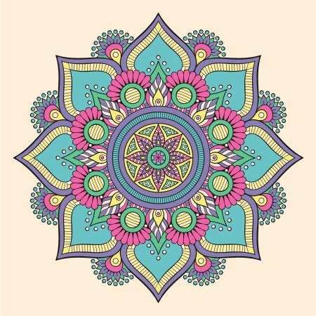 Renkli Çiçek Desenli Mandala Tablosu 0