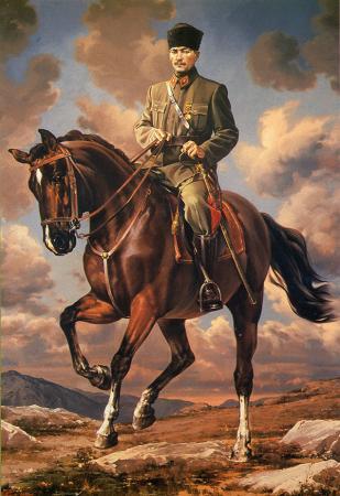 At Üzerinde Atatürk Posteri resim