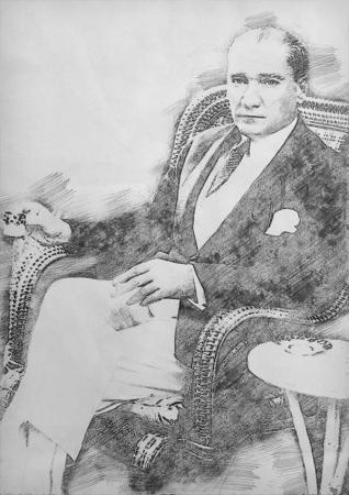 Atatürk Karakalem Tablo resim