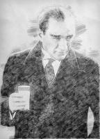 Atatürk Rakı İçerken Karakalem - ATA-C-985