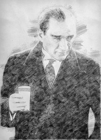 Atatürk Rakı İçerken Karakalem resim