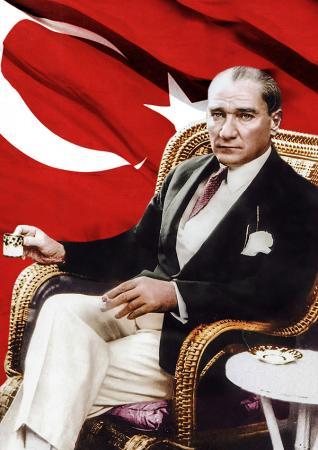 Atatürk ve Türk Bayrağı Tablosu resim
