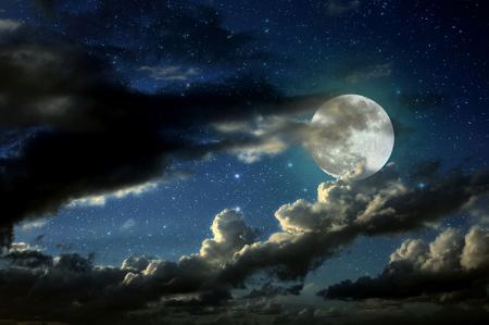 Dolunay ve Bulutlar resim