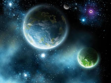 Galaksiler ve Harika Görünümlü Gezegenler resim