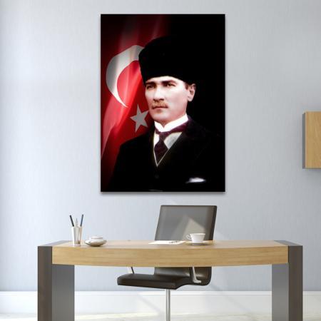 Kalpaklı Atatürk Tablosu ve Türk Bayrağı resim2