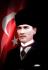 Kalpaklı Atatürk Tablosu ve Türk Bayrağı k0