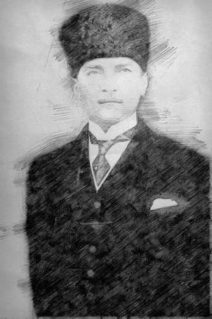 Karakalem Kalpaklı ve Kravatlı Atatürk Portresi resim