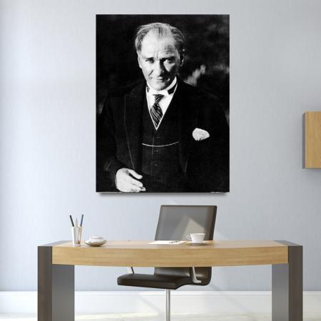 Siyah Beyaz Atatürk Tablosu resim2