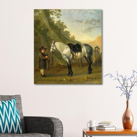 A Boy Holding a Grey Horse resim2