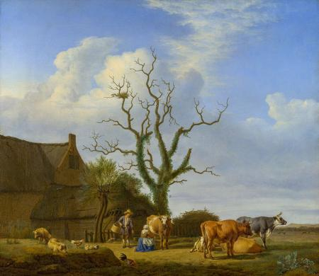 A Farm with a Dead Tree resim