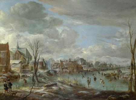 A Frozen River near a Village, with Golfers and Skaters resim