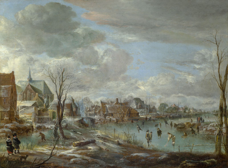 A Frozen River near a Village, with Golfers and Skaters 0