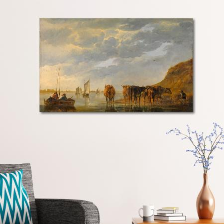 A Herdsman with Five Cows by a River resim2