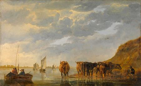 A Herdsman with Five Cows by a River resim