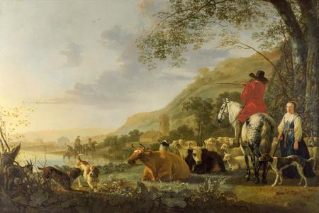 A Hilly Landscape with Figures resim