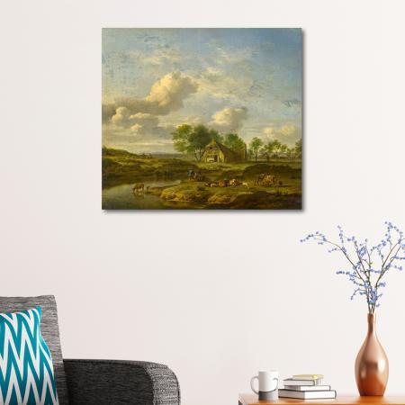 A Landscape with a Farm by a Stream resim2