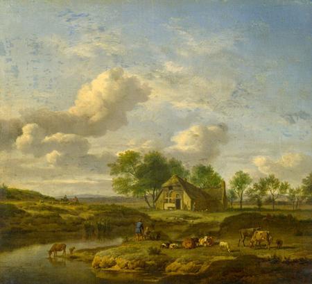 A Landscape with a Farm by a Stream resim