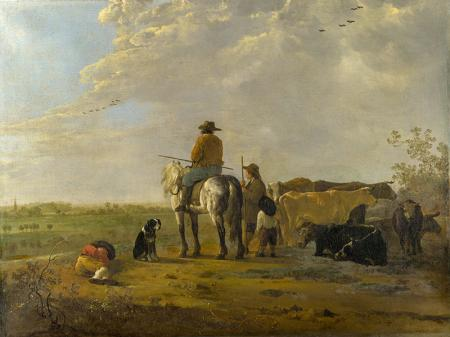 A Landscape with Horseman, Herders and Cattle resim