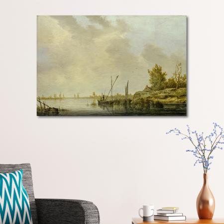 A River Scene with Distant Windmills resim2