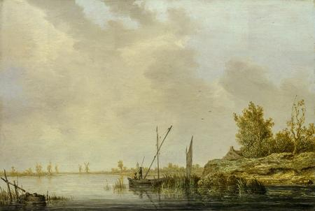 A River Scene with Distant Windmills resim