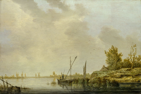 A River Scene with Distant Windmills 0