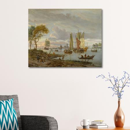 A River View Painting resim2