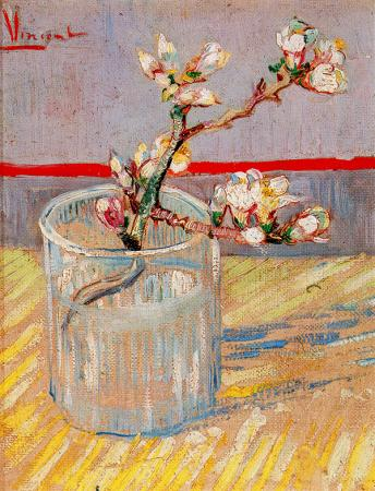 Blossoming Almond Branch in a Glass resim