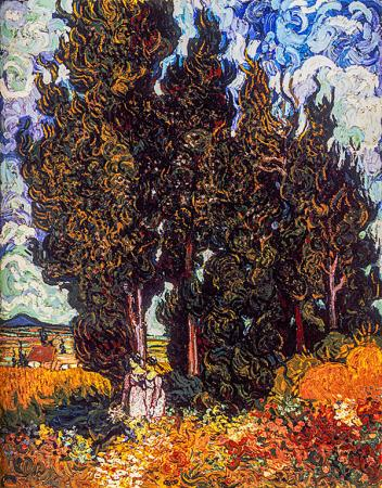 Cypresses and Two Women resim