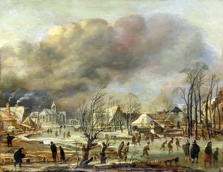 Donmuş bir kanalın yanında bir köyde kar yağışı resim