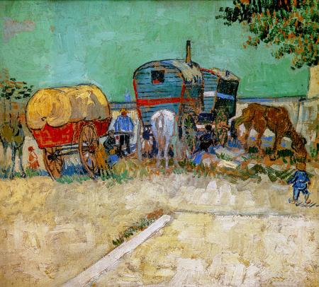 Encampment Of Gypsies With Caravans 0