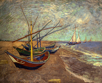 Fishing Boats on the Beach at Les Saintes-Maries-de-la-Mer - UR-C-142