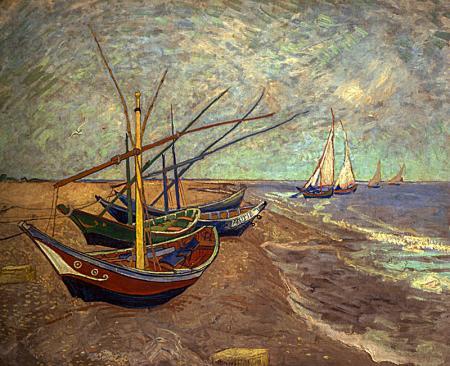 Fishing Boats on the Beach at Les Saintes-Maries-de-la-Mer resim