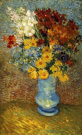 Flowers in a Blue Vase resim
