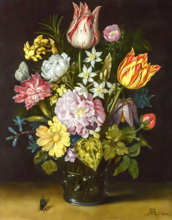 Flowers in a Glass Vase resim